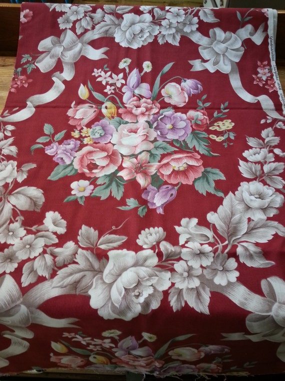 Large Floral Print Medium Weight Cotton Upholstery Fabric Etsy