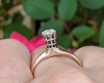Unique Antique Diamond Engagement Ring with High Mount   Edwardian 0.33 Old European Diamond Ring