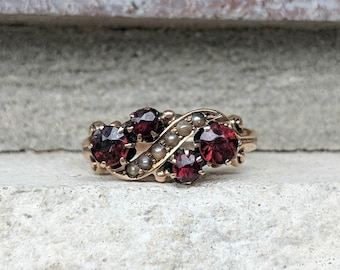 Antique Vintage Victorian Garnet Ring with Seed Pearls in 10k Yellow Gold
