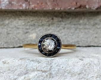 Antique Petite Art Deco Diamond Sapphire Halo Engagement Ring   Vintage Target Ring