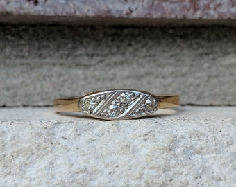 Vintage Art Deco Diamond Cluster Panel Ring   Antique Promise, Wedding, Fashion Ring in 18k Gold and Platinum