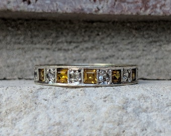 Vintage 1941 Sapphire & Spinel Eternity Ring in White Gold   Antique Yellow Sapphire Wedding Band Ring