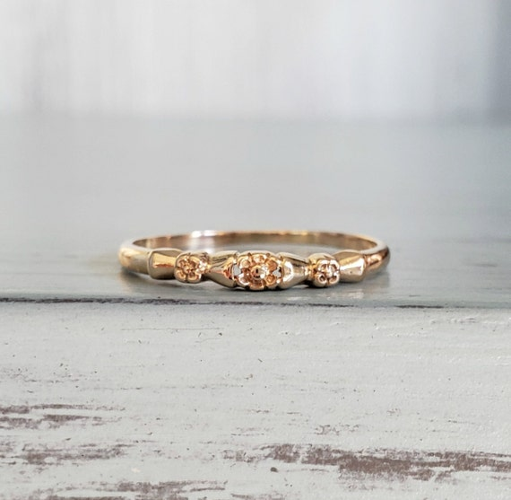 Vintage 14k Yellow Gold Wedding Band Ring| Floral