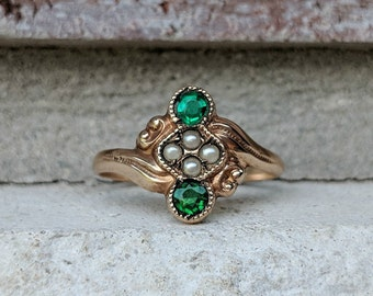 Antique Victorian Emerald Green Glass Stone with Seed Pearls in Rose Gold