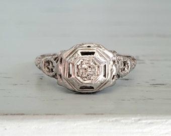 Antique Engagement Ring   Art Deco Diamond Ring Set into 18k White Gold   Old Mine Cut Diamond