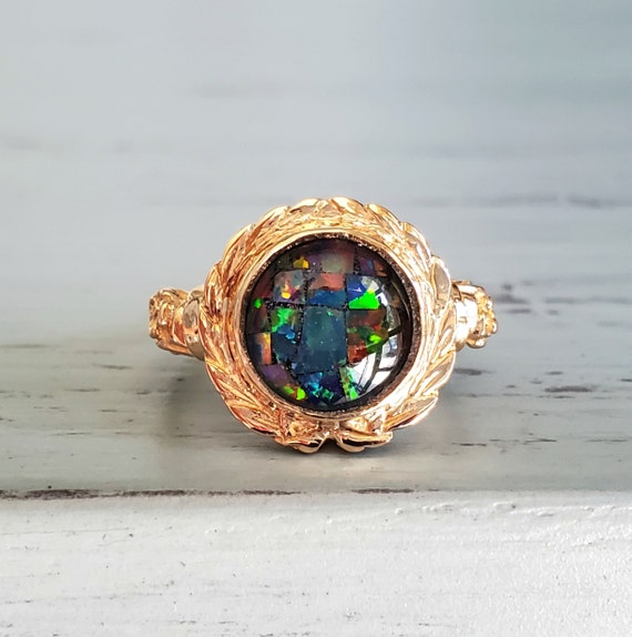 Vintage Black Mosaic Opal Ring in 14k Yellow Gold