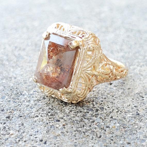 Vintage 2.1Ct Antique Art Deco Red Baguette Gemstone Engagement Ring Silver S925
