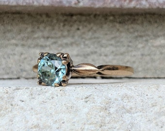 Vintage Art Deco Blue Zircon Solitaire Ring   Blue Zircon Engagement Ring in Yellow Gold
