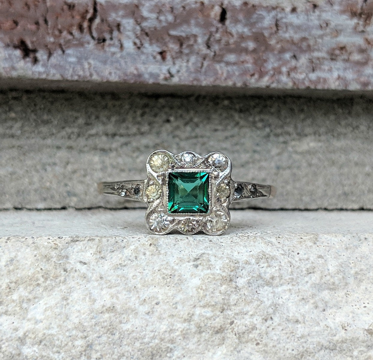 Antique Art Deco Emerald Green Paste Ring In Rose Gold And