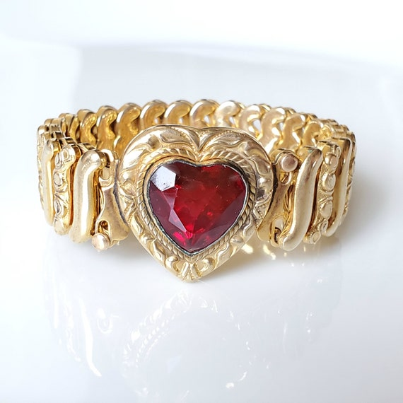 Vintage Expandable Heart Red Stone Gold Filled Swe