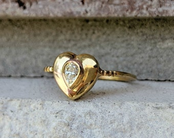 Antique Vintage Heart Pear Diamond Ring   Edwardian 0.20 Pear Drop Engagement or Promise Ring