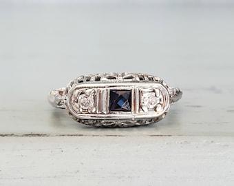 Antique Art Deco Sapphire Diamond Trilogy Ring in 18k White Gold   Past Present Future Ring