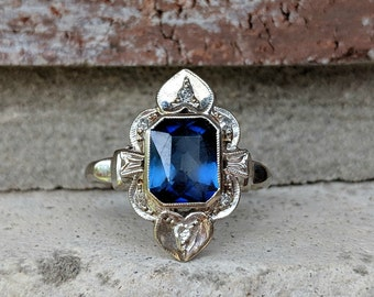 Vintage Art Deco Synthetic Blue Sapphire & Diamond 14k White Gold Ring Mounting