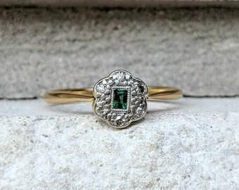 Antique Art Deco Emerald Diamond Cluster Engagement Ring  Petite Vintage Emerald Ring in 18k & Platinum
