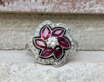 Antique Art Deco Unique Diamond Ruby Halo Engagement Ring in Platinum   Vintage Marquise Ruby Flower Ring