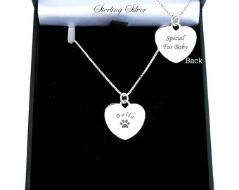 Pet Loss Gift Dog Lover Sterling Silver Paws on Heart Necklace Gift for Cat