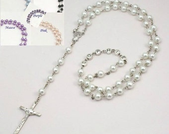 Auto Rosary for Car Rearview Mirror W Pink Imitation Marble Glass Beads