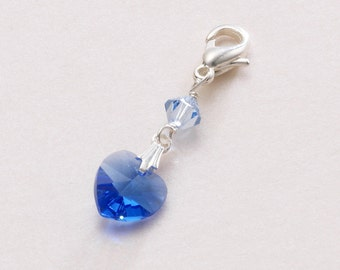 Something Blue Charm for Bride, Swarovski Crystal Heart.