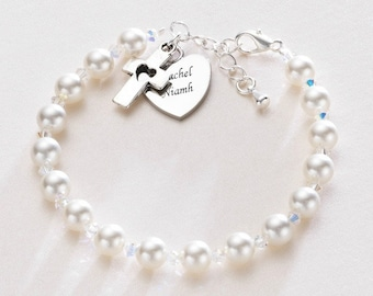 Engraved Bracelet with Cross and Heart Charms. Personalised Christening Gift for a Girl.