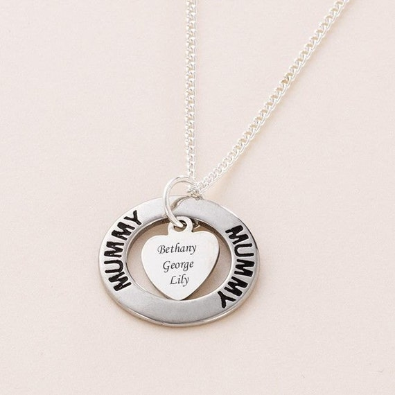 Personalised Engraved Heart Ring Necklace
