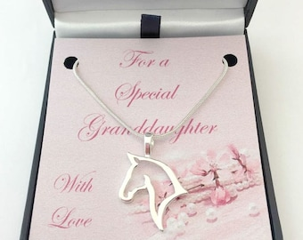 Beautiful Open Horse Head Necklace on Gift Card Mount. Gift for Horse Lover