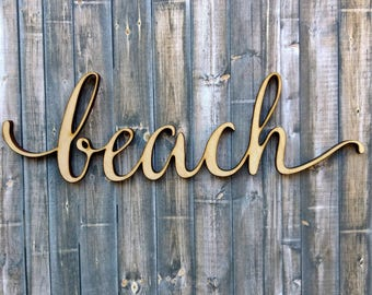 Loved Script Word Wood Sign Wooden Words Sign Art Rustic Etsy