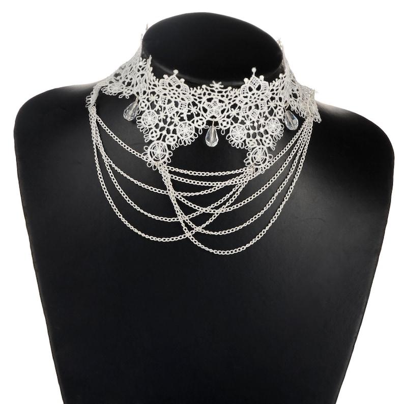 Vintage Victorian Style White Ivory Cream Lace Chain Drape Choker Necklace #L71