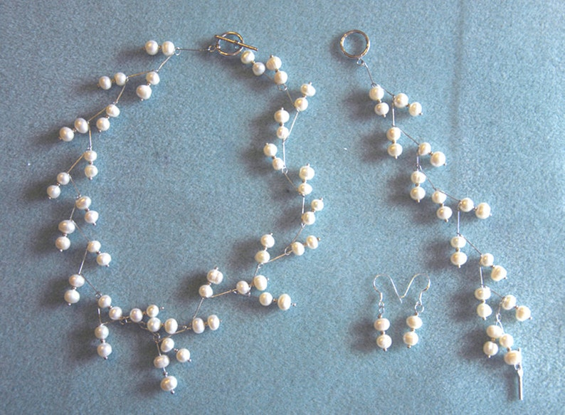 Handmade 3pc Contemporary Silver Ptd Genuine AA 6-7mm White Pearl Necklace Set