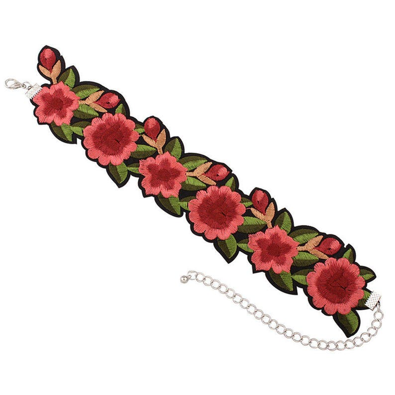 Handmade Victorian Embroidered Rose Choker Necklace