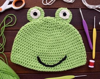 Crocheted Frog Children's Beanie Hat