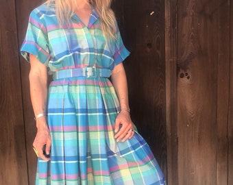 Perfect Plaid Vintage 80's does the 50's dress with matching belt