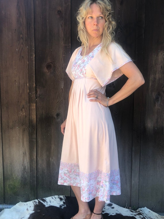 Perfect Pink Vintage 70's Summer Dress