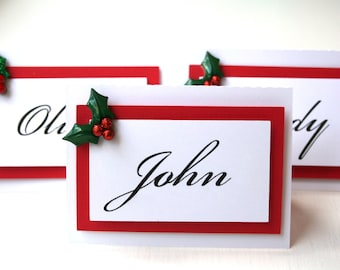 Late christmas card etsy christmas dinner table cards holiday table cards food labels christmas dinner settings holly place settings holiday name cards m4hsunfo