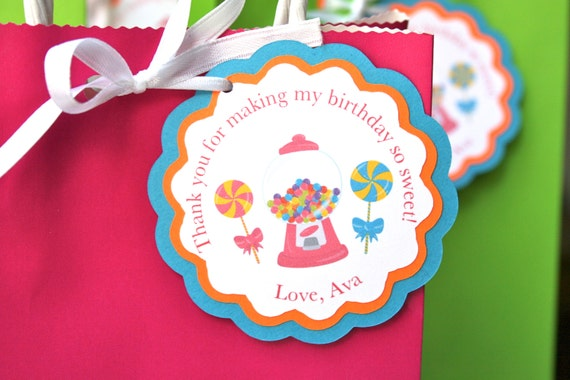 Candy Land Theme Party Thank You Gift Tags Goodie Bag Gum Ball Tag Birthday