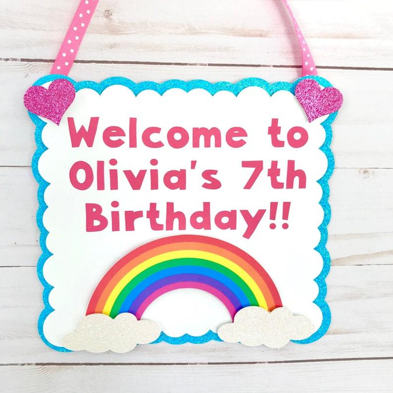 Rainbow Birthday Door sign Rainbow Birthday Party