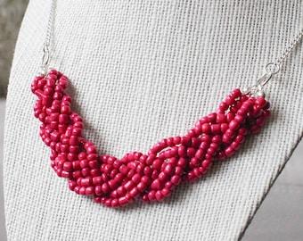 Fuchsia Statement Necklace, Fuchsia Braided Bead Necklace, Fuchsia Multistrand Necklace, Hot Pink Statement Necklace, Hot Pink Breaded Beads