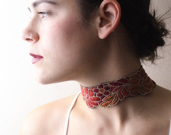 Floral Choker Necklace, Fabric Choker Necklace, Choker, Floral Necklace, Choker Necklace, Gift for Her, Fashion Necklace, Popular