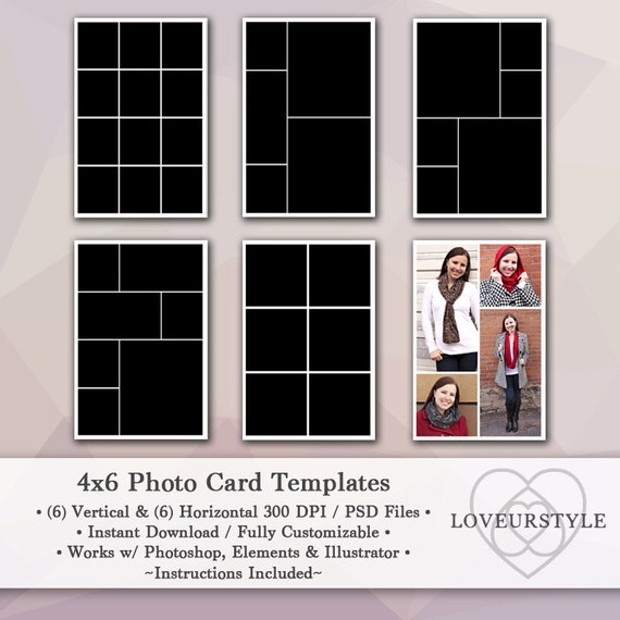 4x6 photo template pack 12 photo card templates photo etsy
