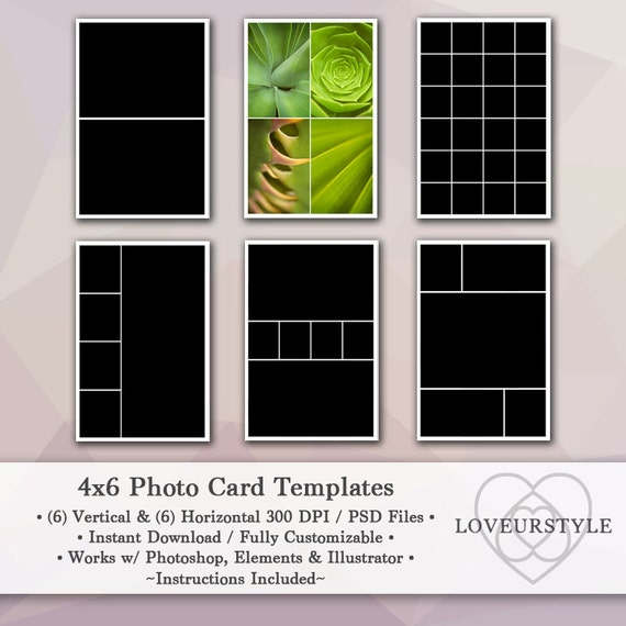 4x6 Photo Template Pack 12 Photo Card Templates Photo | Etsy