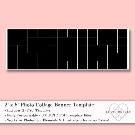 2 u0026 39 x6 u0026 39  foot photo collage banner template holds 37