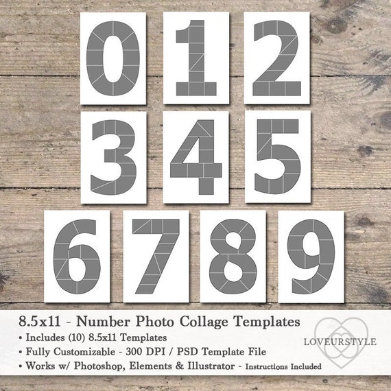 85x11 Photo Template Pack Numbers Number