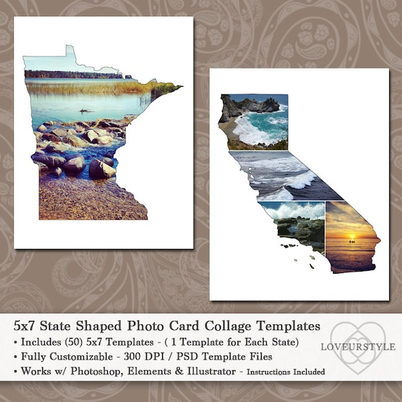 5x7 state shaped photo card collage template pack includes etsy image 0 m4hsunfo