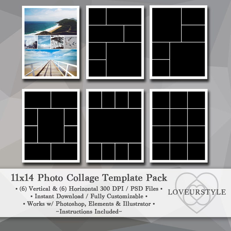 11x14 Photo Template Pack Photo Collage Storyboard Etsy