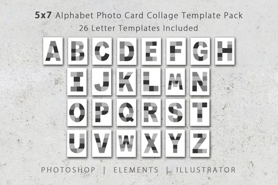 5x7 Photo Template Pack Alphabet Template Pack Letter Etsy
