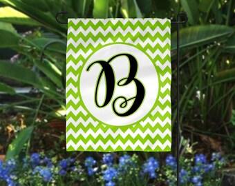 Your Color Chevron/Your Initial/Chevron Garden Flag /Personalized Monogram  Garden Flags/