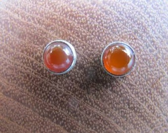 Silver earrings with carnelian 6 mm