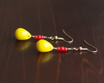 Yellow with Red Earrings
