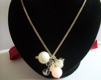 Silver cluster with White Pearl Pink transparent curb chain necklace