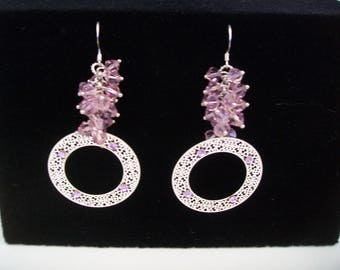Silver and pink swarovski stud earring