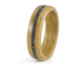 Oak Wood Ring With Center Snowflake Obsidian Inlay - Oak ring, wooden ring, bentwood ring.